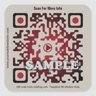 Custom QR code sticker (QR code template #60) Square Sticker
