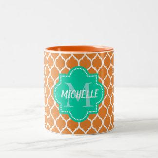 Custom quatrefoil monogram Two-Tone coffee mug