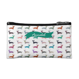 Custom Quirky Dachshund Cosmetic Bag