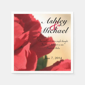 Custom Quote Red Floral Wedding Paper Napkin