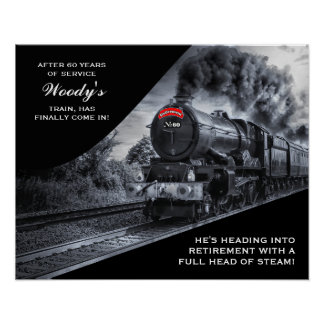 Custom Railroad Retirement No. 60 Train Poster