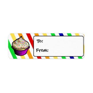 Custom Rainbow Cupcake Gift Tags Return Address Label