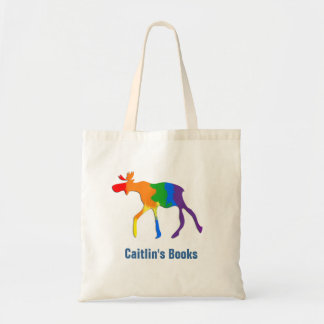 Custom Rainbow Moose Library Book Bag