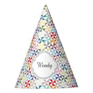 Custom Rainbow Pinwheel Pattern Name Party Hat