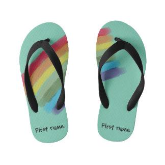Custom Rainbow Slippers Kid's Flip Flops