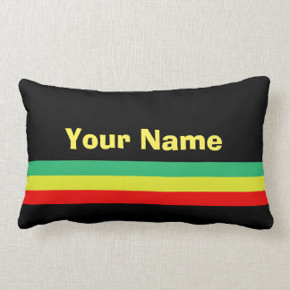 Custom Rasta-Striped Home Decor Lumbar Pillow