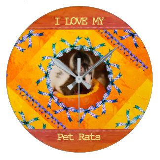 Custom Rat Photo I Love my Pet Rats Large Clock