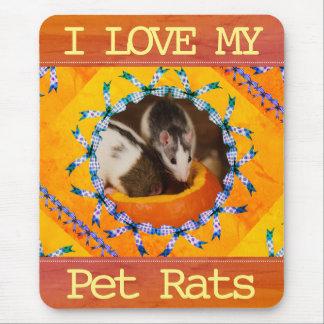 Custom Rat Photo I Love my Pet Rats Mouse Pad