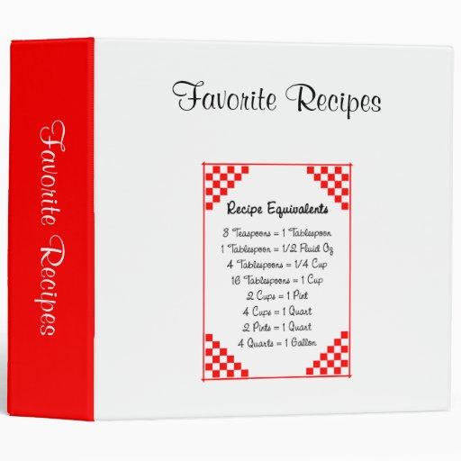 Custom Recipe Equivalents Organizer Binder