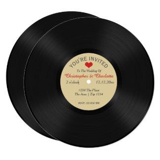 "Custom Record Album Novelty Wedding 5.25"" Square Invitation Card"