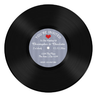"Custom Record Album Novelty Wedding 5.25"" Square Invitation Card"