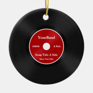 Custom Record Personalize Round Ceramic Ornament