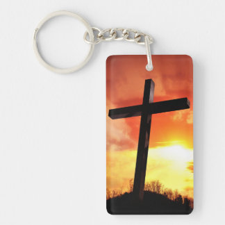 Custom Rectangle Easter Cross Keychain
