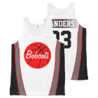 Custom Red and Black Basketball Jerseys All-Over-Print Tank Top