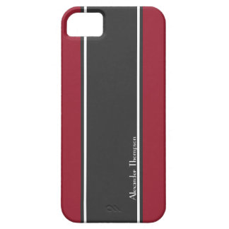 Custom Red and Black Racing Stripes Case For The iPhone 5
