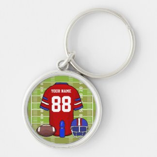 Custom Red and Blue Football Jersey on Field Keychain