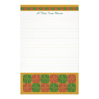 Custom Red and Green Holiday Stationery Lined