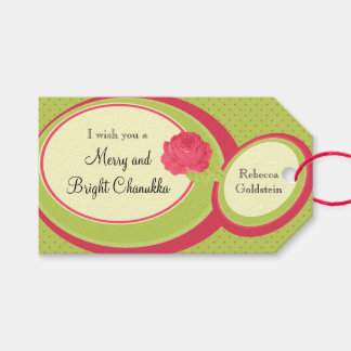 Custom Red and Green Rose Retro Hanukkah Pack Of Gift Tags