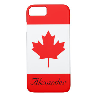 Custom Red and White Flag of Canada Maple Leaf iPhone 7 Case