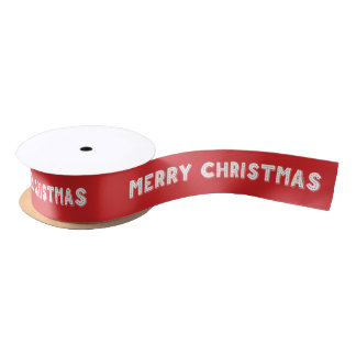 Custom Red And White Merry Christmas Ribbon Satin Ribbon