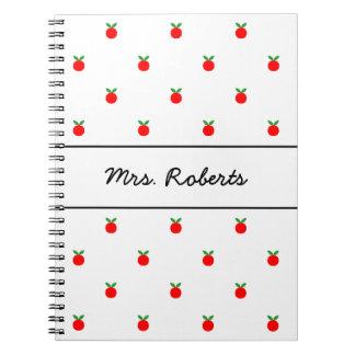 Custom red apple journal for school teacher