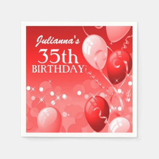 Custom Red Balloons with White Birthday Paper Napkins