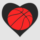 Custom Red Basketball Heart Scrapbook Stickers