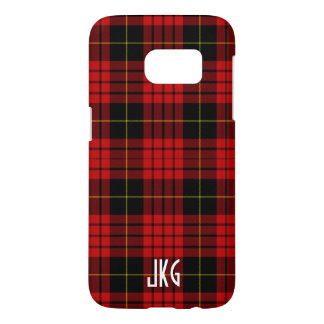 Custom Red, Black and Yellow Plaid Monogram Samsung Galaxy S7 Case