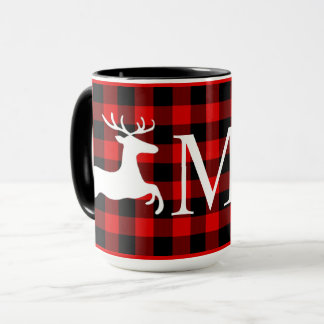 Custom Red Black Buffalo Check Plaid Deer Pattern Mug