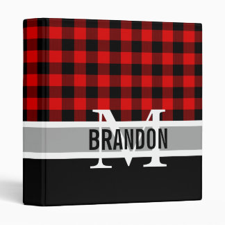 Custom Red Black Buffalo Check Plaid Pattern 3 Ring Binder