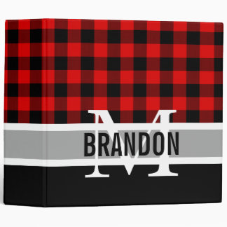Custom Red Black Buffalo Check Plaid Pattern 3 Ring Binders