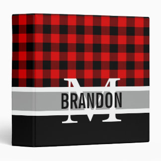 Custom Red Black Buffalo Check Plaid Pattern Binders