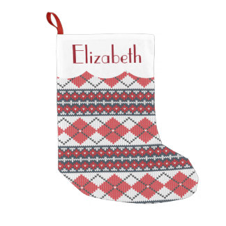 Custom Red Blue & White Nordic Fair Isle Argyle Small Christmas Stocking