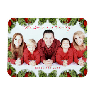 Custom Red Christmas Family Photo and Name Magnet