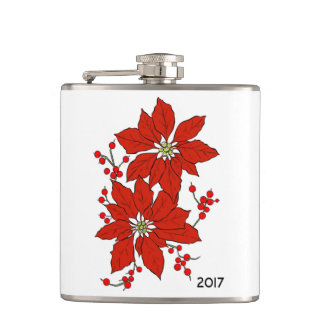 Custom Red Christmas Poinsettia Hip Flask