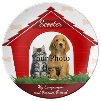 Custom Red Doghouse Dog Memorial Porcelain Plate