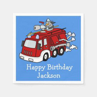 Custom Red Firetruck on Blue Boy's Birthday Paper Napkin