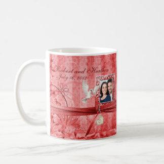 Custom Red Floral Photo Wedding Mug Favor