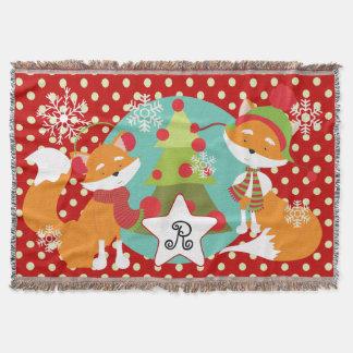 Custom Red Fox Christmas Holiday Throw