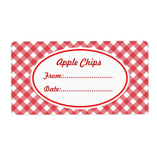 Custom Red Gingham Kitchen Gift Tag Labels