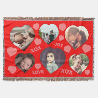 Custom red heart shaped photo collage throw blanket