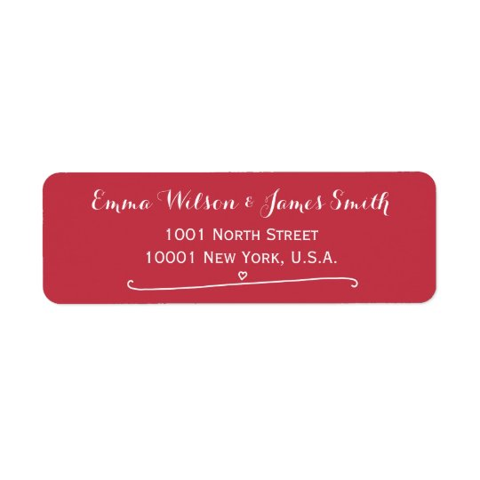 Custom Red Personalized Address Labels Heart