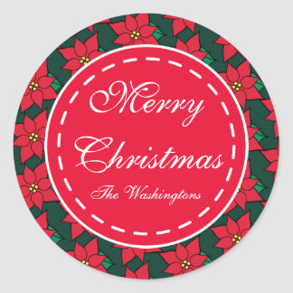 Custom Red Poinsettia Christmas Gift Tag Stickers