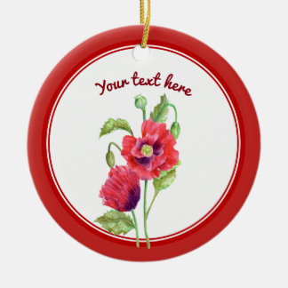 Custom Red Poppies Botanical Floral Art Ceramic Ornament