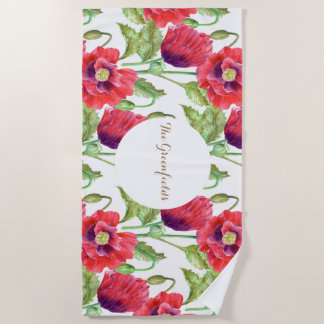 Custom Red Poppies Floral Illustration Beach Towel