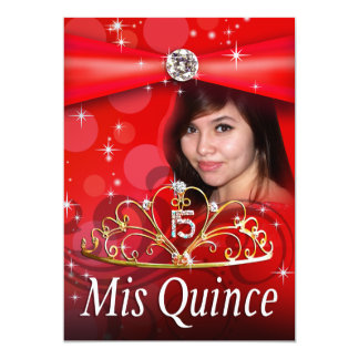 CUSTOM Red Quinceanera 15 Princess Tiara Photo Card