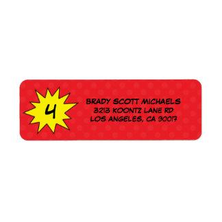 Custom Red Save the Day Superhero Return Address Label