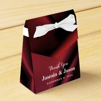 Custom Red Silk Wedding Favor Box