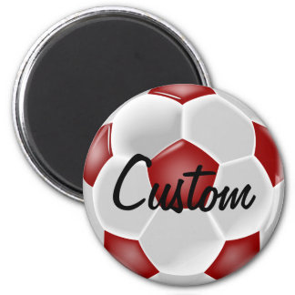 Custom Red Soccer Ball Magnet
