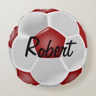 Custom Red Soccer Ball Round Pillow